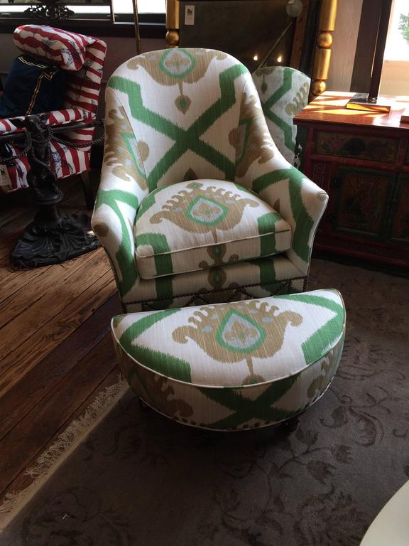 swivel club chair gaming bean bag striking vintage ikat upholstered and crescent shaped ottoman at 1stdibs