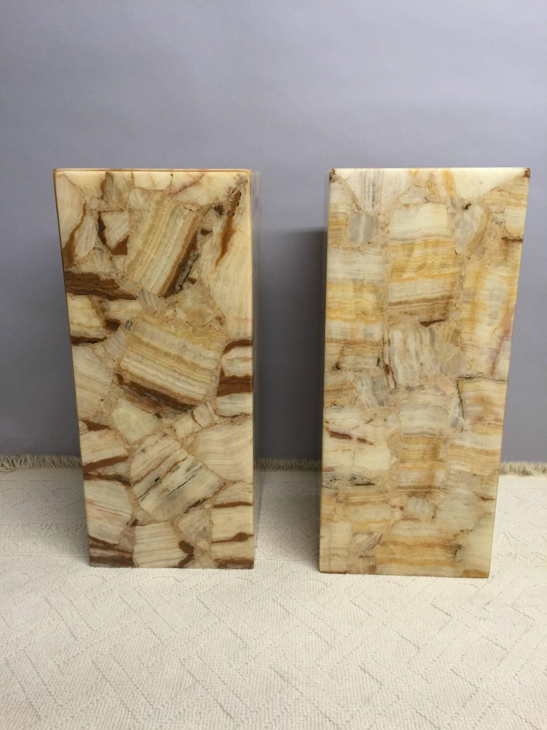Pair Of Illuminated Onyx And Resin Pedestals For Sale At