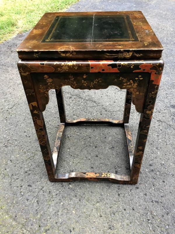 Black Red And Gold Chinese Laquered Side Table