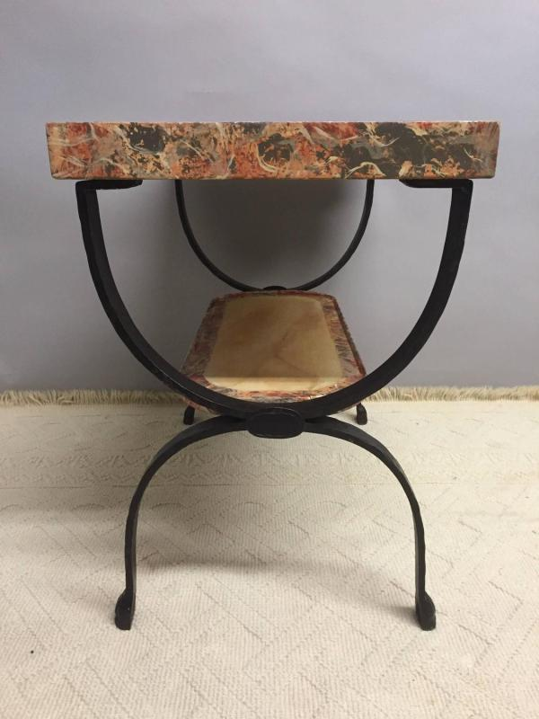 Two-tier Faux Marbleized Wood And Hand-forged Wrought Iron