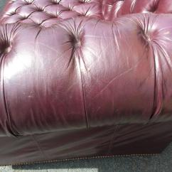 Hancock Leather Sofa Dump Bed Rich Eggplant Vintage Tufted Chesterfield At ...