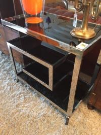 Chrome and Tinted Glass Mid-Century Modern Bar Cart at 1stdibs