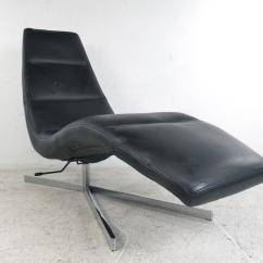 Swivel Chaise Lounge Chair Desk Pink Danish Modern Leather