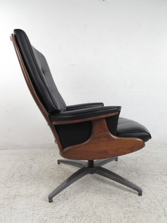 swivel club chair with ottoman reclaimed wood rocking heywood wakefield lounge at 1stdibs