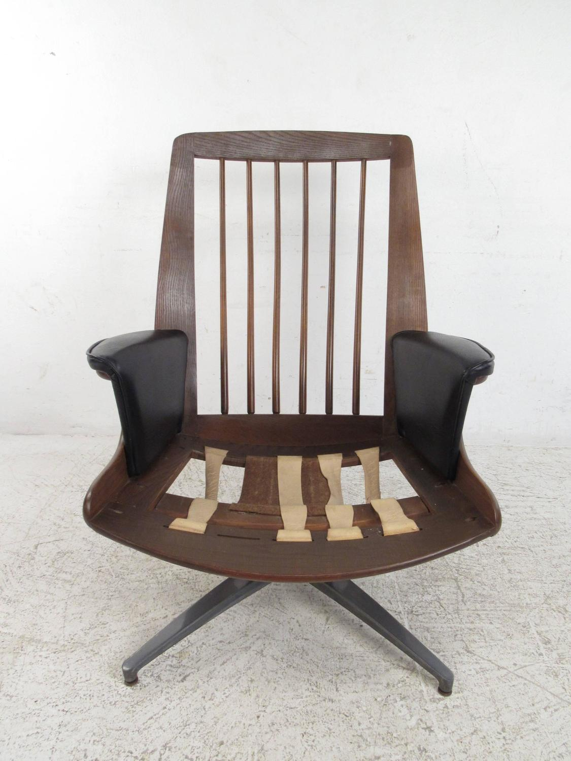 swivel club chair with ottoman ergonomic attachment heywood wakefield lounge at 1stdibs