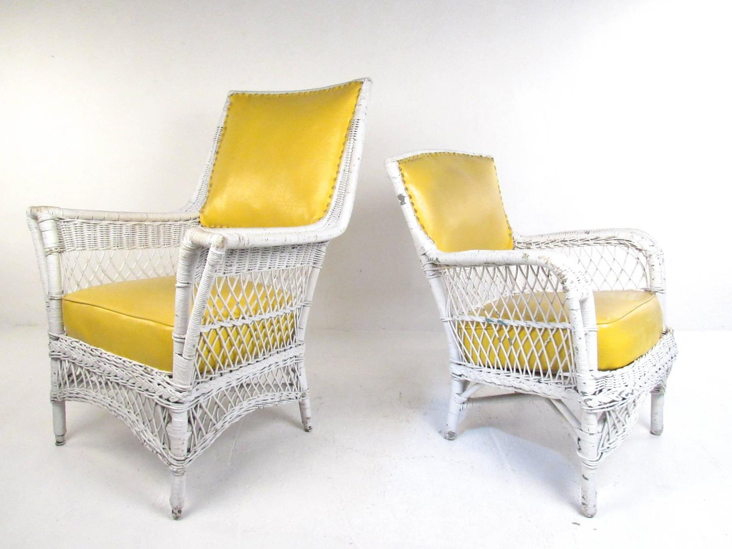 oversized rocking chair cushions thomasville dining chairs set of six vintage wicker and vinyl chairs, mid-century modern patio seating for sale at 1stdibs