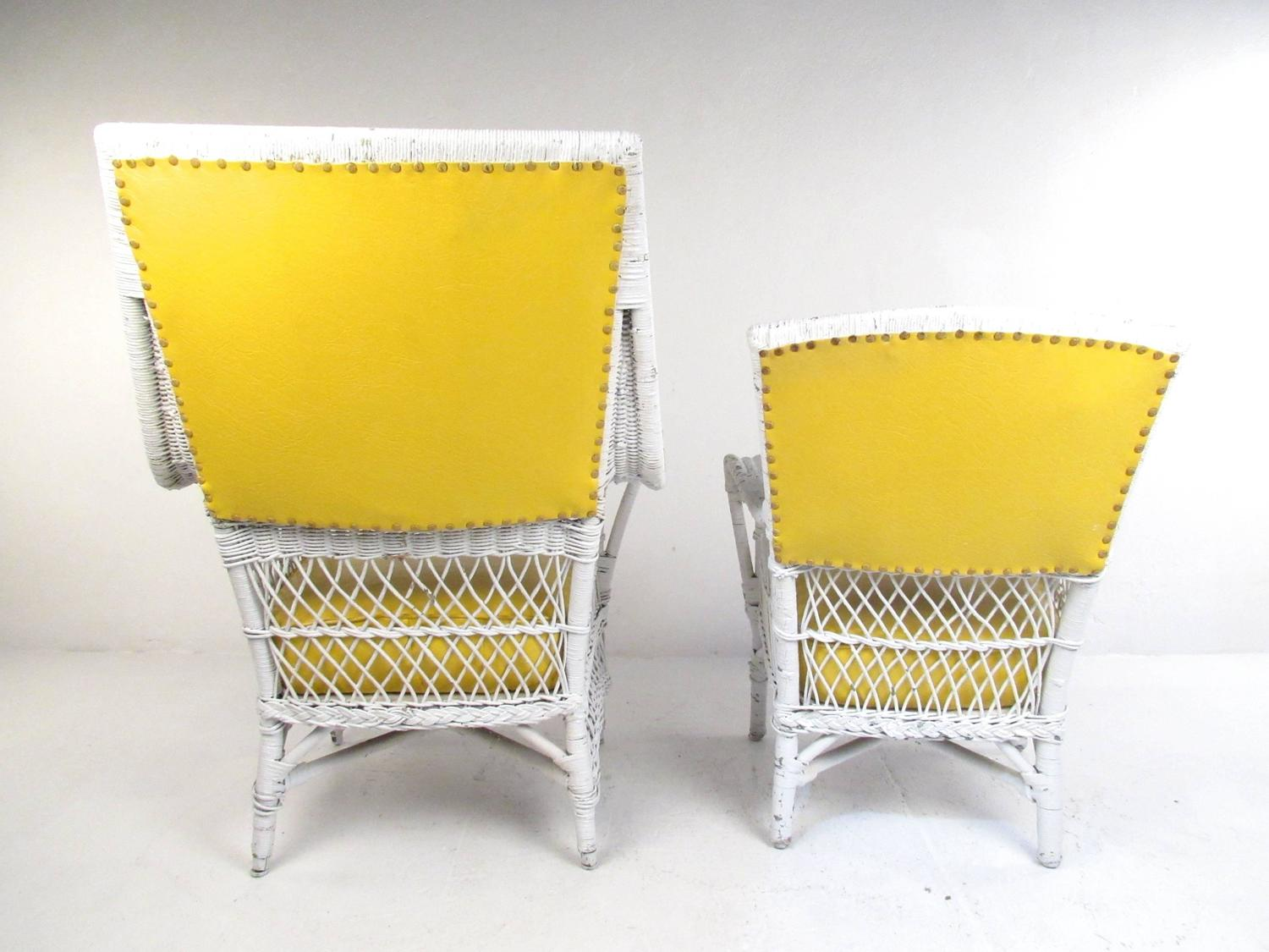vinyl wicker chairs traditional rocking chair set of six vintage and mid century