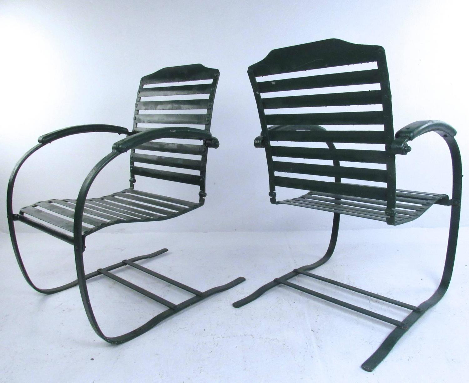 Mid Century Patio Chairs Pair Of Vintage Metal Spring Chairs Mid Century Patio