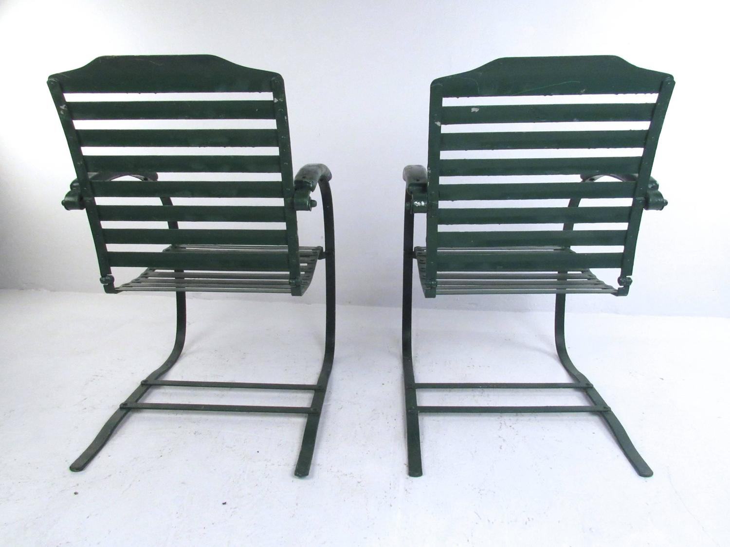 antique metal chairs for sale porch table and chair set pair of vintage spring mid century patio