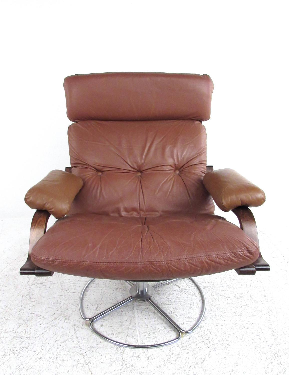 swivel club chair with ottoman old wooden high parts vintage leather westnofa style lounge