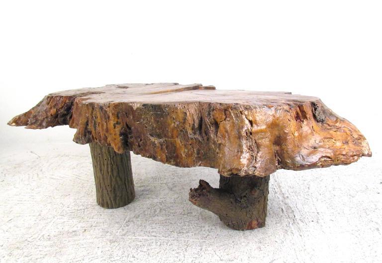 vintage rustic free edge coffee table natural wood slab