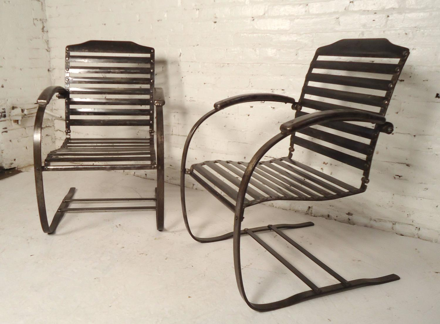 old fashioned metal lawn chairs s shaped dining pair of vintage spring for sale at 1stdibs