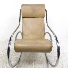Midcentury Rocking Chair Folding Dining Room Chairs Target Mid Century Modern Tubular Chrome For Sale