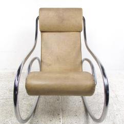 Mid Century Rocker Chair Folding Tables And Chairs Bulk Modern Tubular Chrome Rocking For Sale