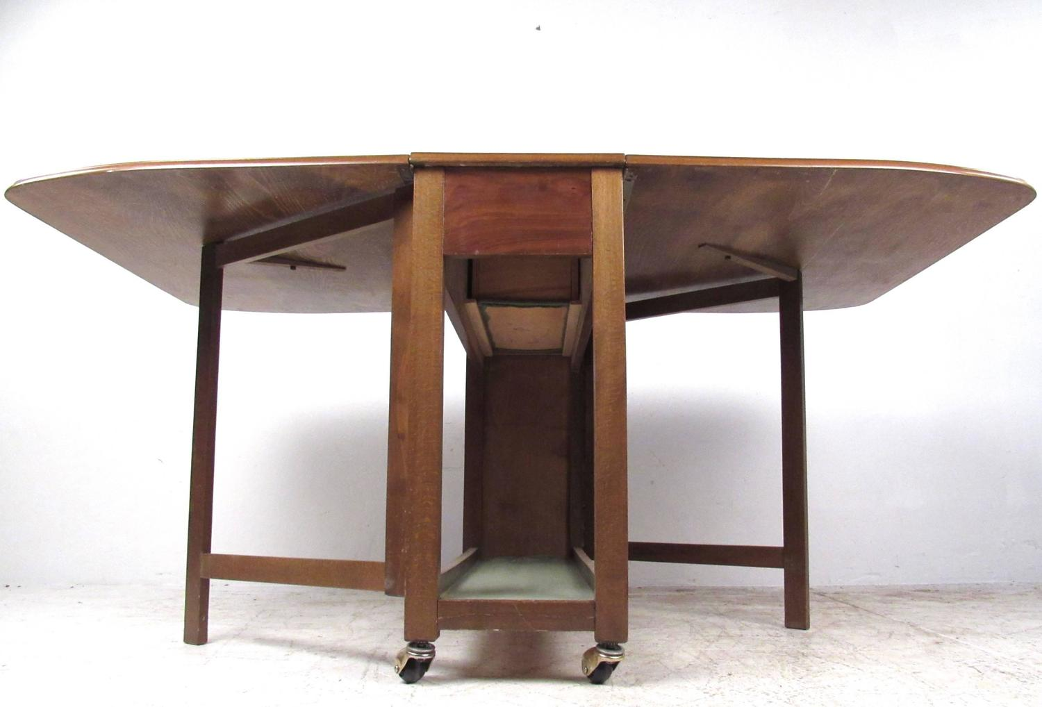 folding chair with wheels lounge cushions target mid-century modern rolling drop-leaf table chairs for sale at 1stdibs