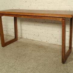 Vintage Lane Sofa Table Black Cherry Leather Modern Walnut Console By For Sale At