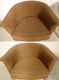 Milo Baughman Chrome Barrel Chairs at 1stdibs