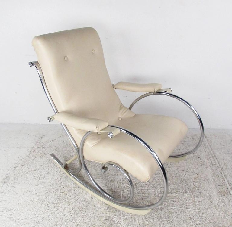 cheap modern rocking chair revolving repair mid century thonet style chrome frame for sale this sleek features a tufted vinyl seat with stylish mounted
