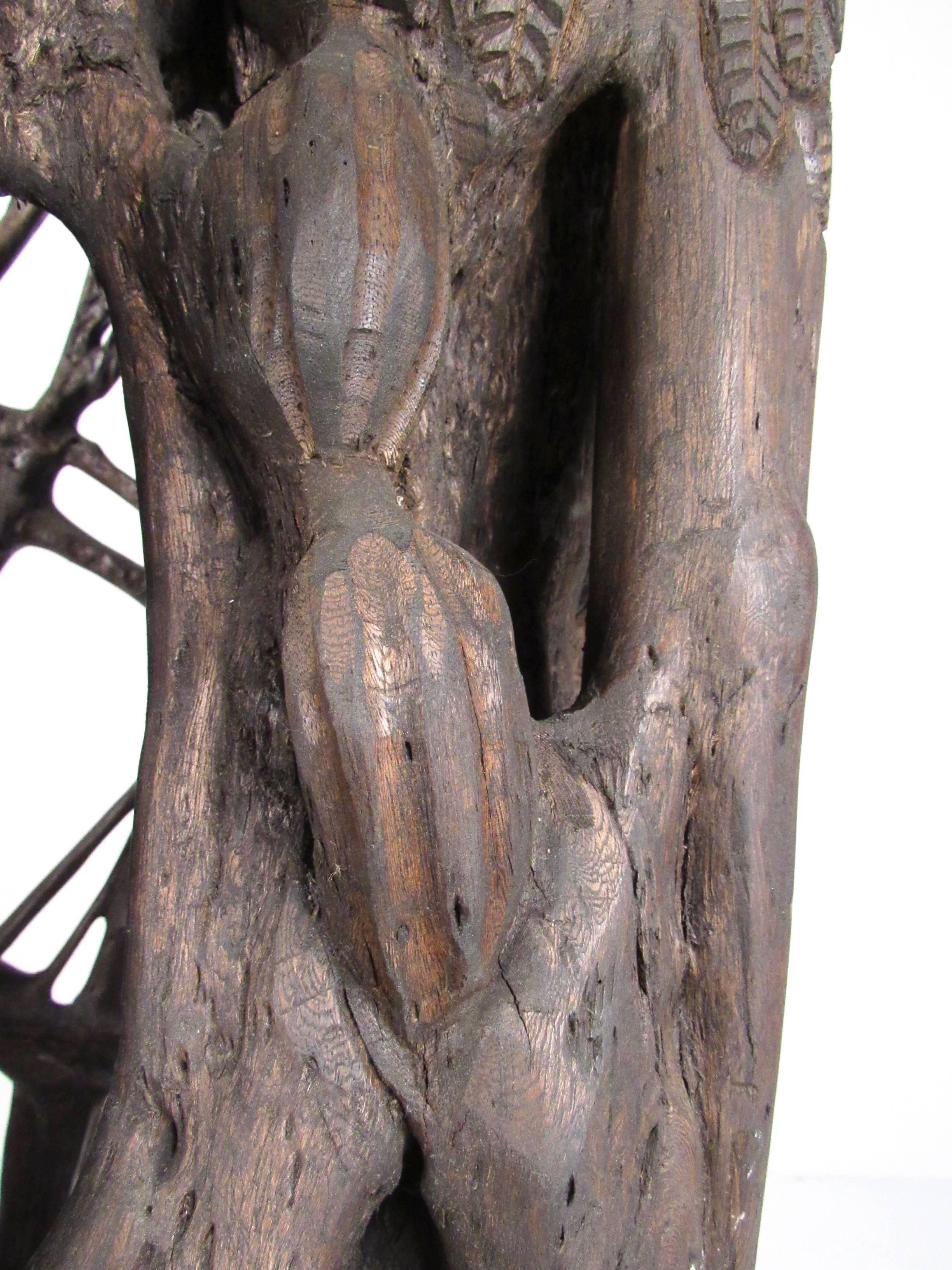 Unique Tribal Style Hand Carved Tree Trunk Sculpture For