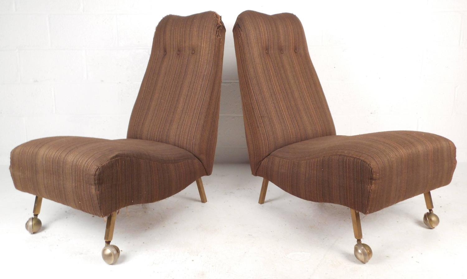 modern slipper chair kitchen table and 6 chairs uk pair of mid century high back for