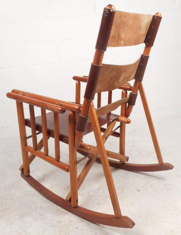 foldable rocking chair solid oak table and chairs mid century modern costa rican leather campaign folding in good condition for sale