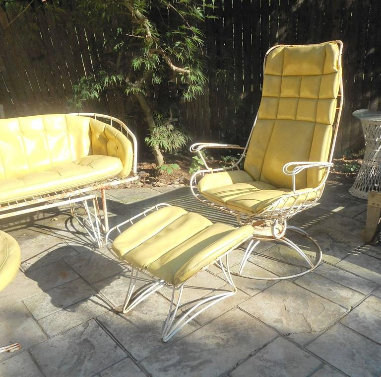 mid century modern five piece wrought iron homecrest patio set