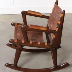 Rocking Chair Leather And Wood Pink Childrens South American Tooled Chairs