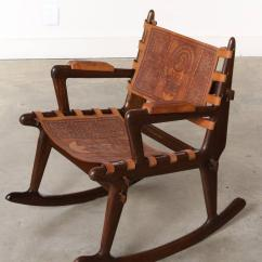 Rocking Chair Leather And Wood Fishing Adaptors South American Tooled Chairs