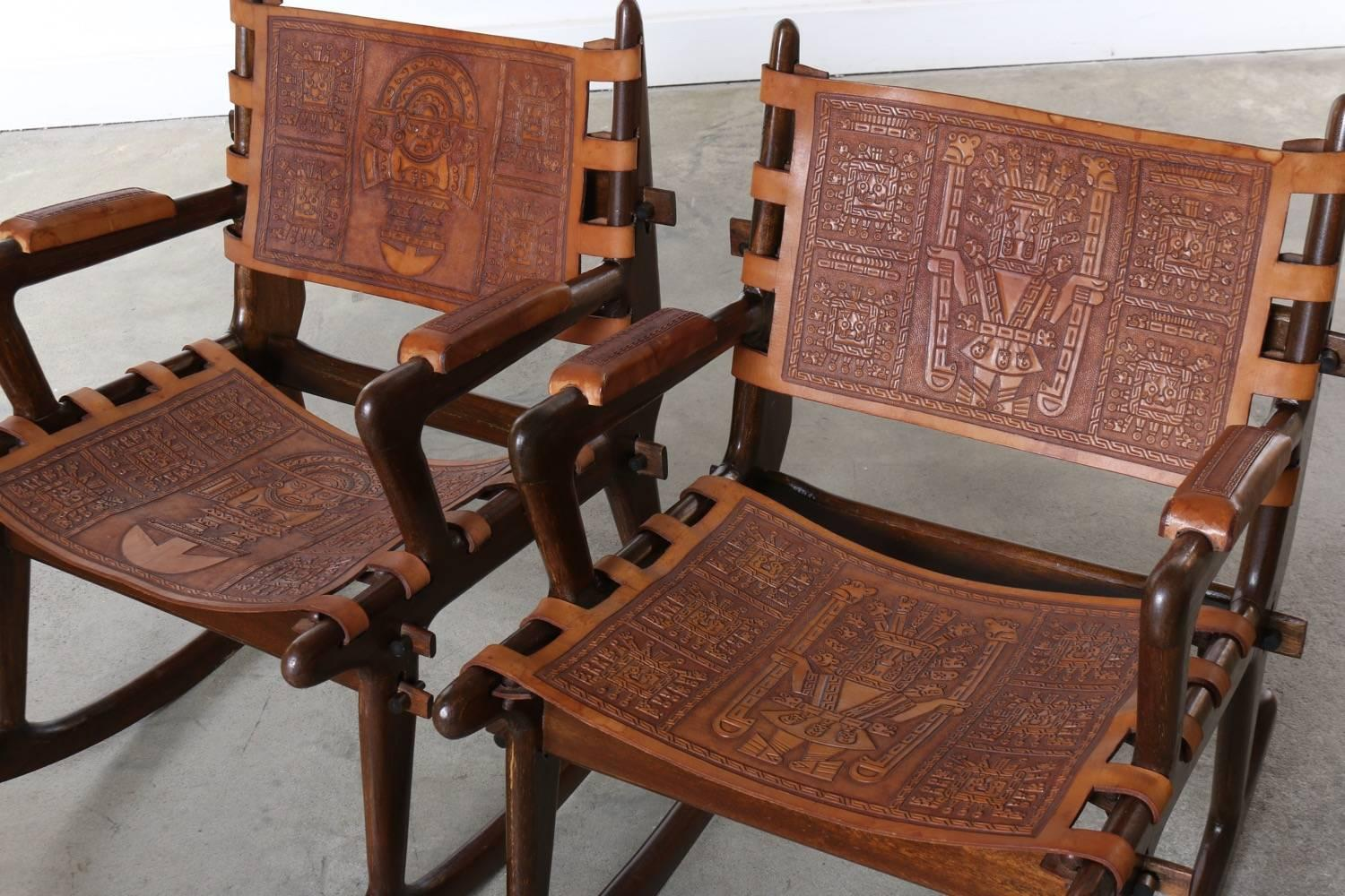 rocking chair leather and wood lounge designs south american tooled chairs