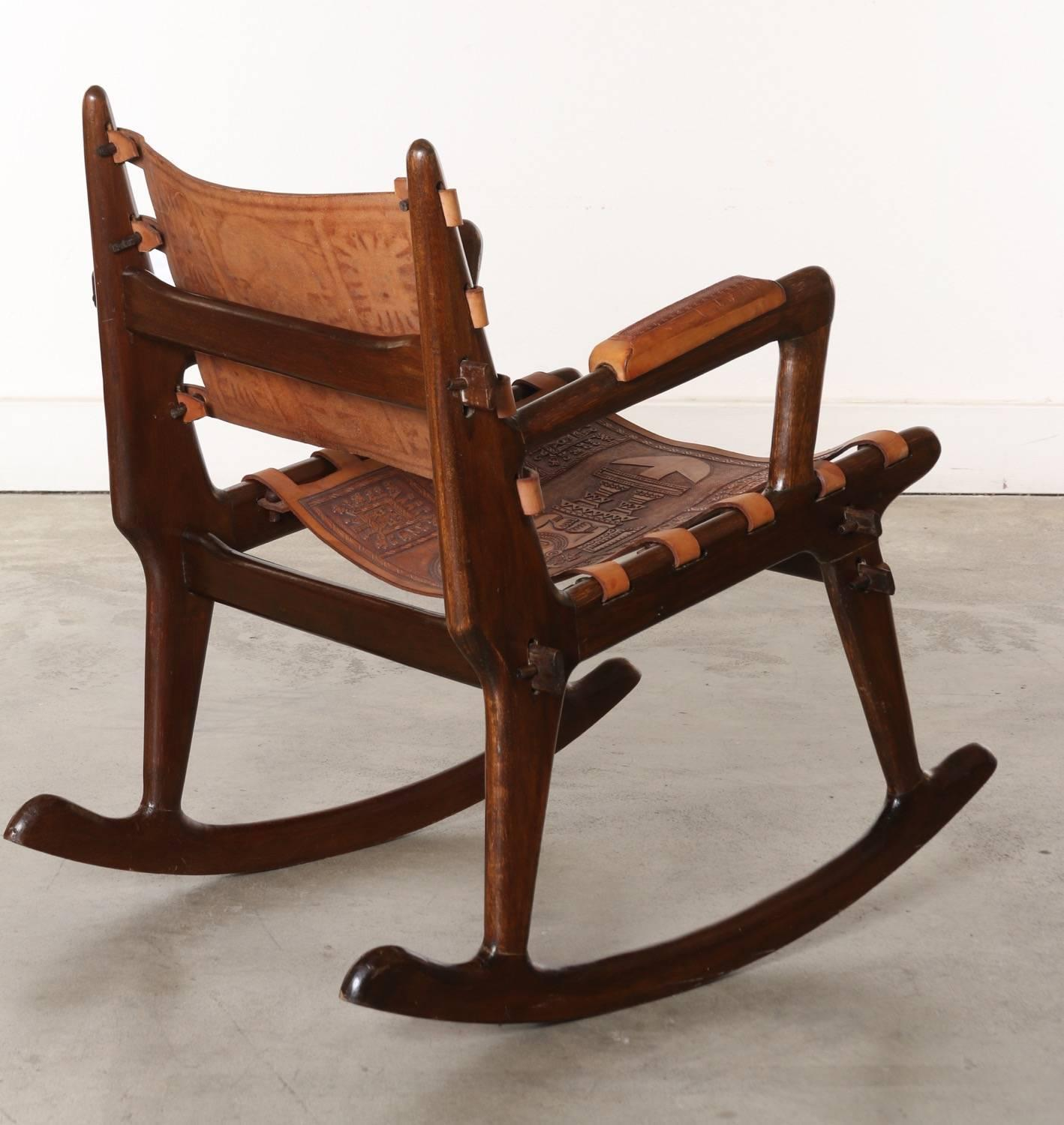 rocking chair leather and wood wooden rocker south american tooled chairs