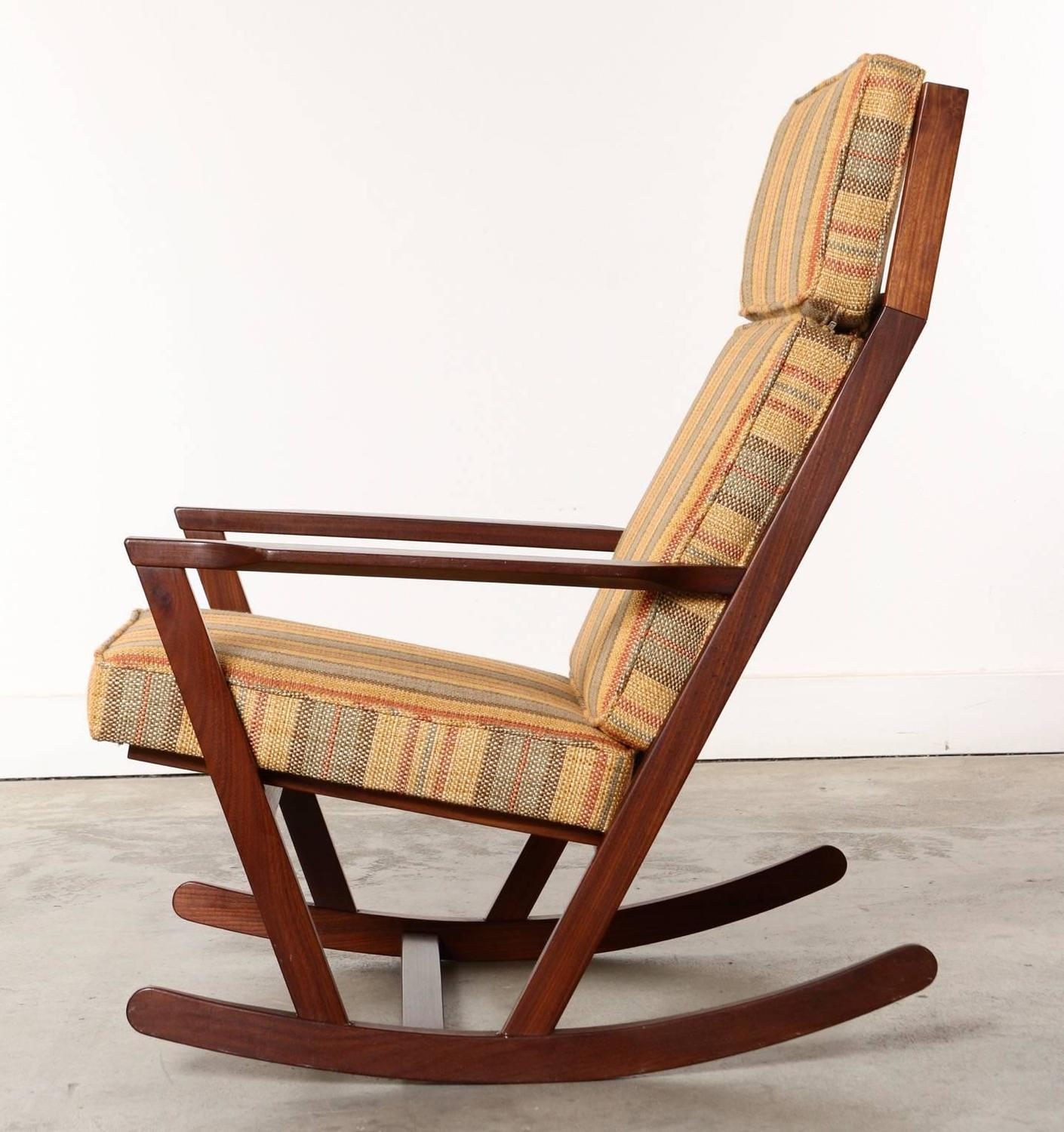 most comfortable rocking chair royal blue accent danish modern wooden with cushions designed