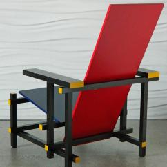 Red Blue Chair Black Leather Office And By Gerrit Thomas Rietveld For Sale At