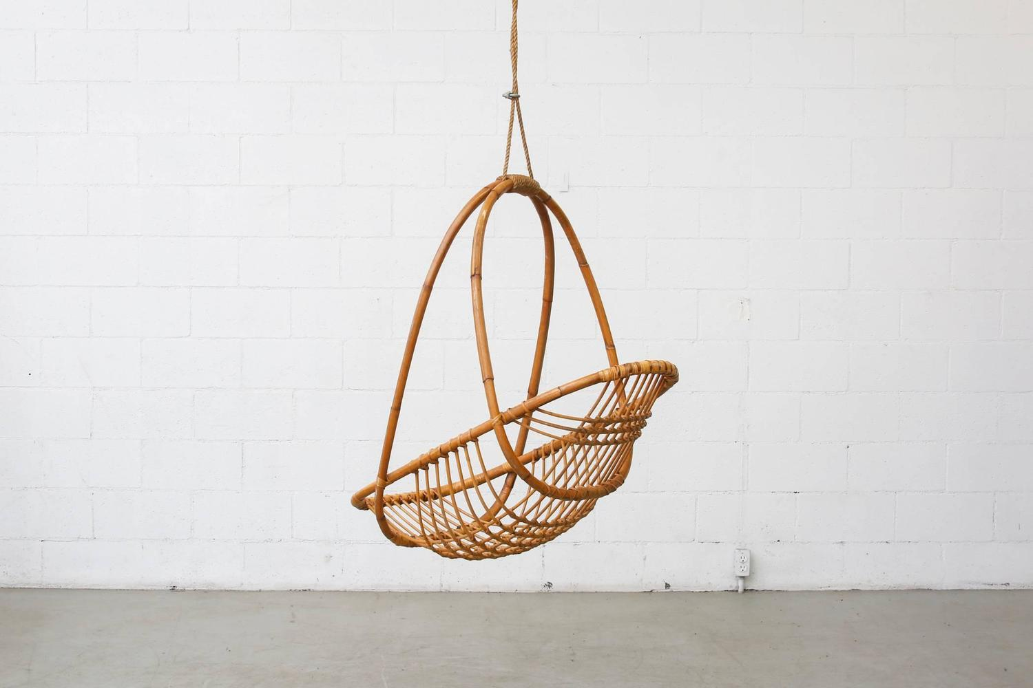 Egg Basket Chair Retro Hanging Bamboo Egg Basket Chair At 1stdibs