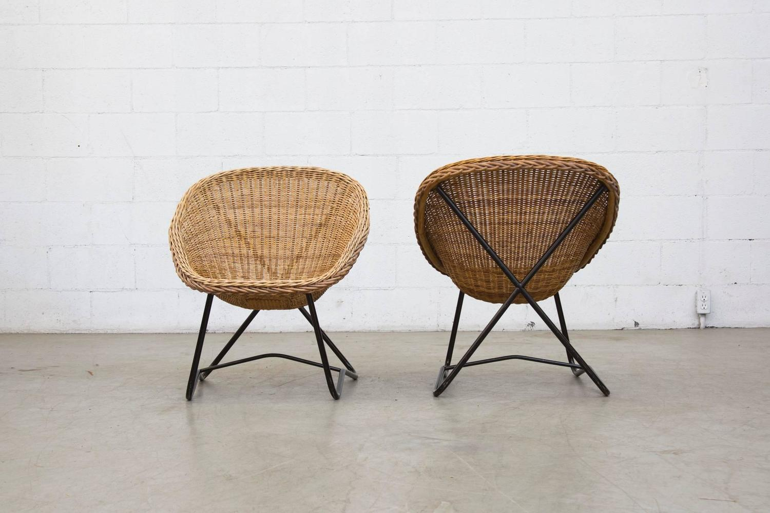 Wicker Bowl Chair Pair Of Dirk Van Sliedrecht Woven Bowl Chair At 1stdibs