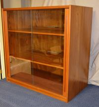 Storage Cabinet, Teak with Glass Doors, Wired for ...