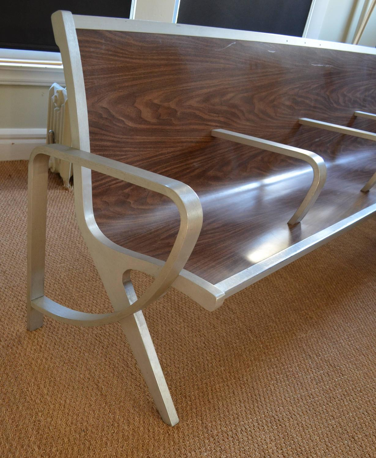 waiting room chairs for sale lawn amazon mid century bench from of train bus depot
