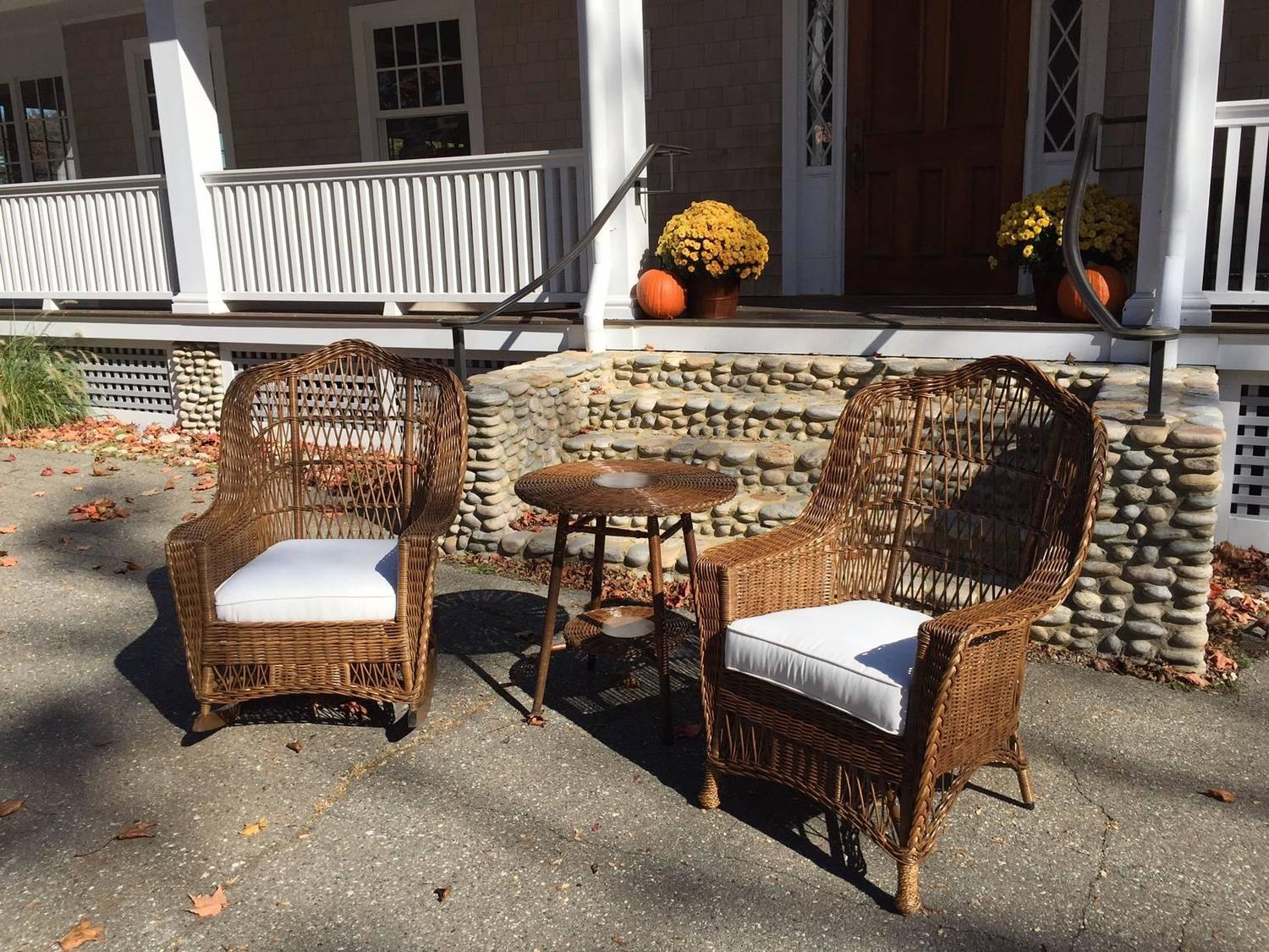 heywood wakefield wicker chairs gym chair olx antique and rocker at 1stdibs