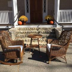Heywood Wakefield Wicker Chairs Bar Height High Chair Antique And Rocker At 1stdibs