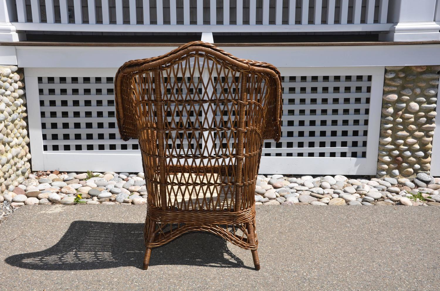 heywood wakefield wicker chairs white throne chair antique armchair for sale at 1stdibs