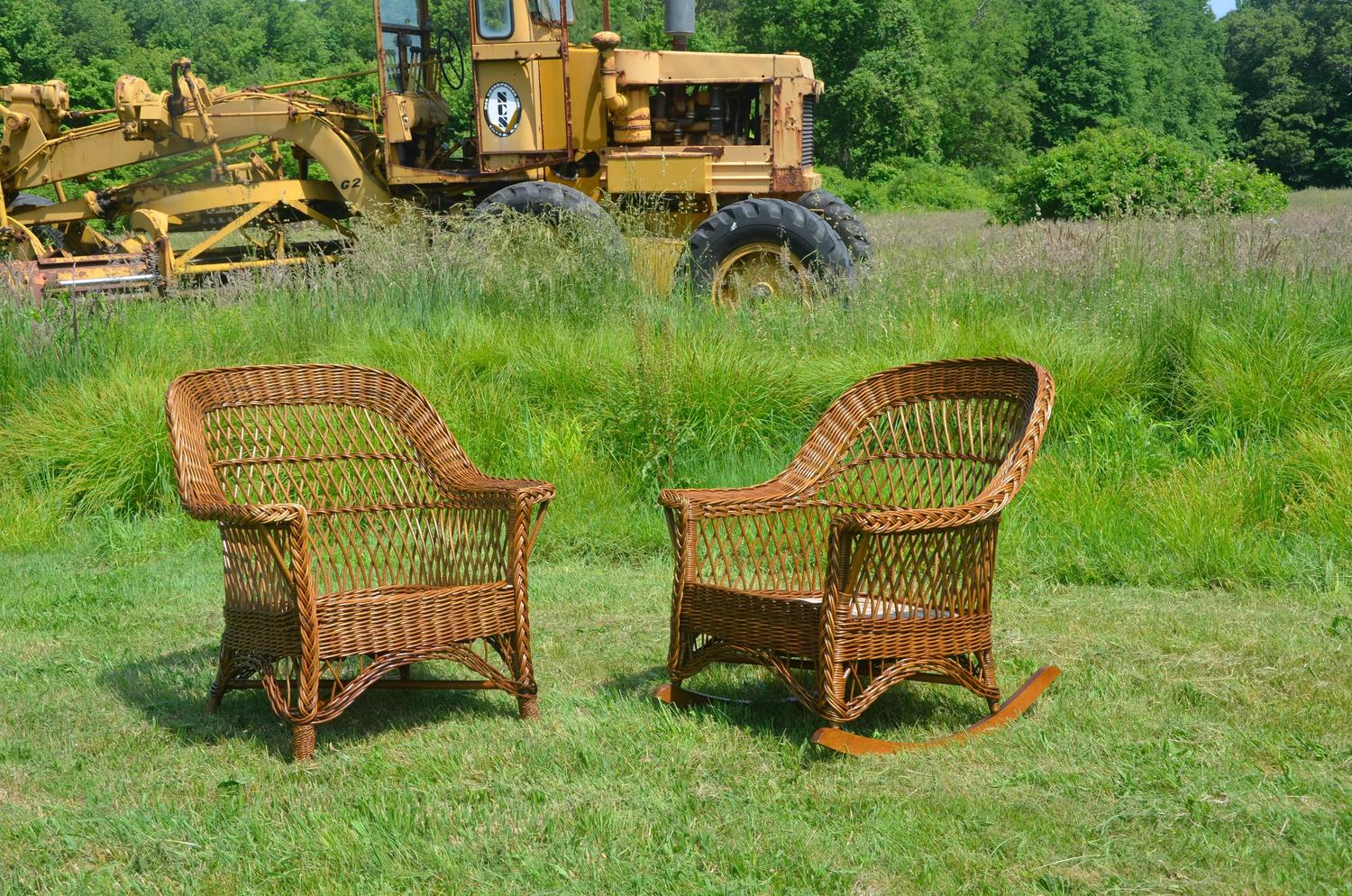 heywood wakefield wicker chairs rattan garden only uk antique bar harbor chair and