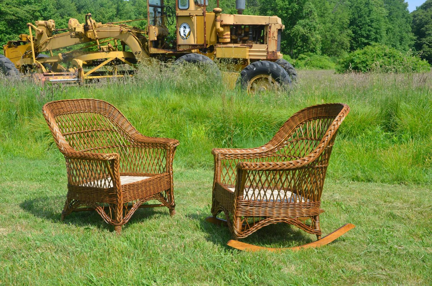 heywood wakefield wicker chairs best chair for writing desk antique bar harbor and