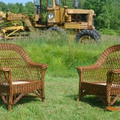 Heywood Wakefield Wicker Chairs Wooden Step Stool Chair Ladder Antique Bar Harbor And
