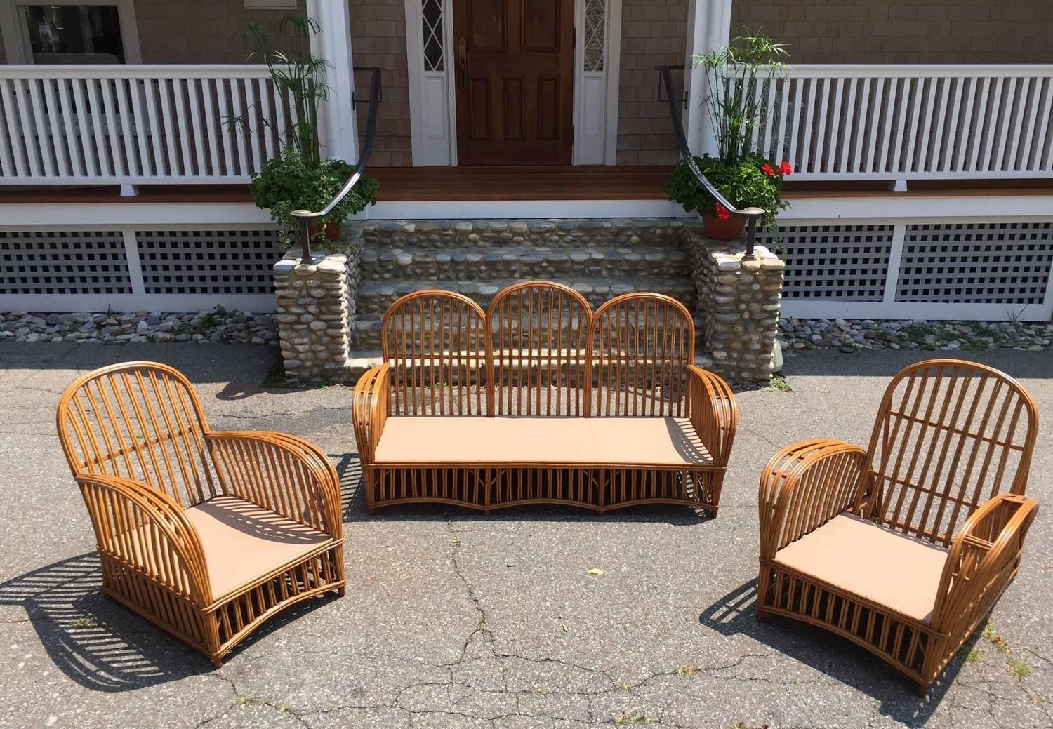 heywood wakefield wicker chairs with rollers antique stick set for sale at 1stdibs