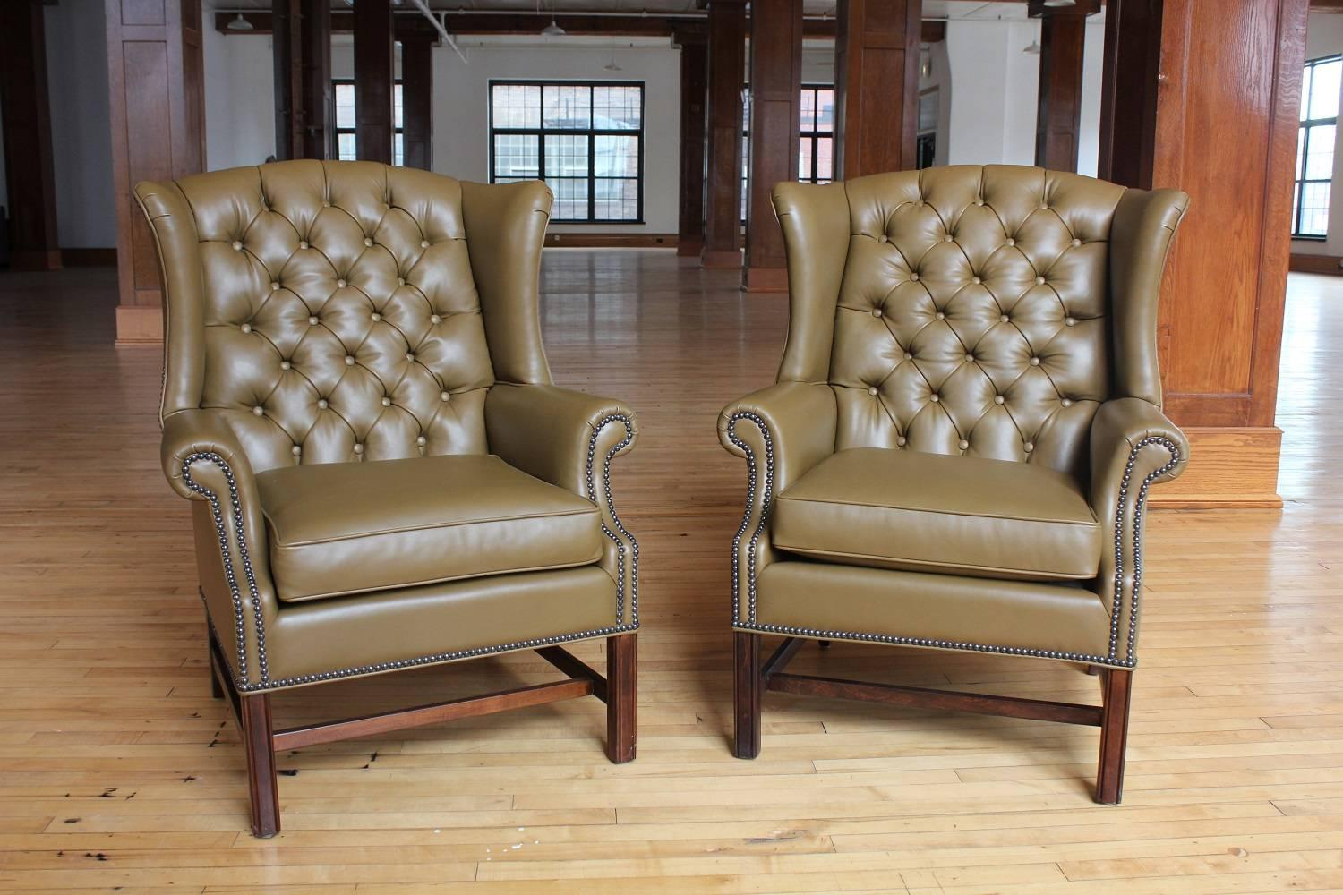 tufted leather wingback chair kids king 1920s american library wing for sale