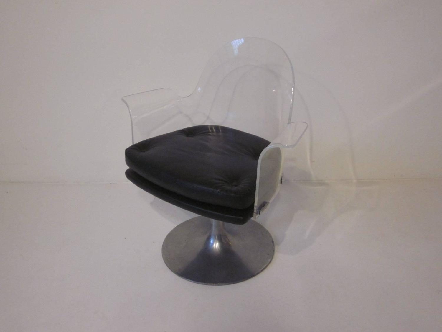 clear acrylic swivel office chair sure fit dining covers reviews lucite upholstered for sale at 1stdibs