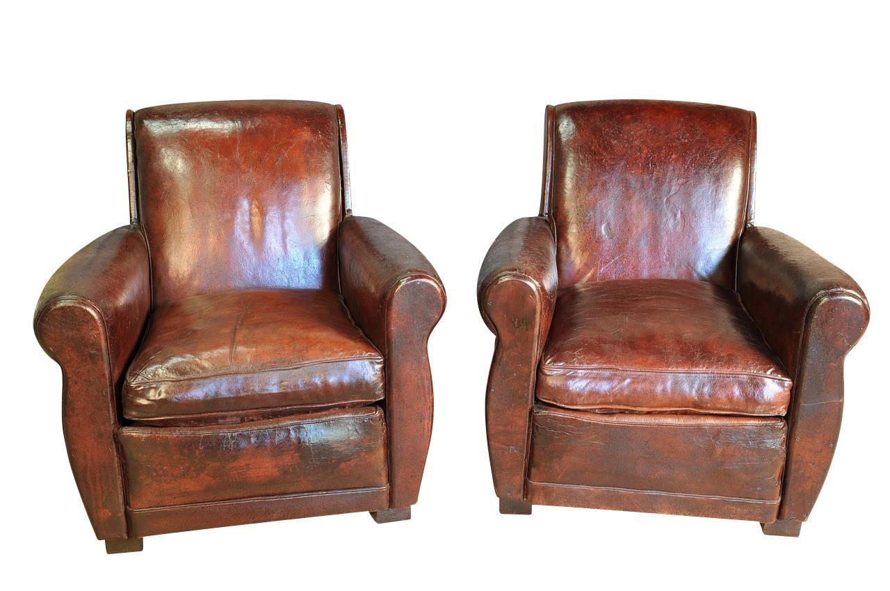 art deco club chairs leather wood office chair on wheels pair of french for sale at