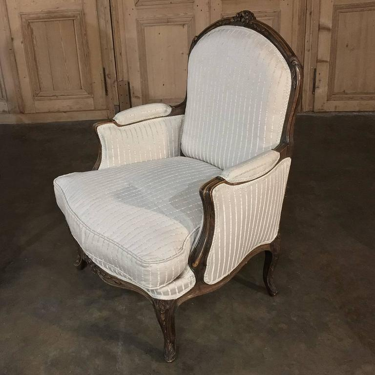 Overstuffed Armchairs For Sale Pair Of 19th Century French Walnut Regence Bergeres