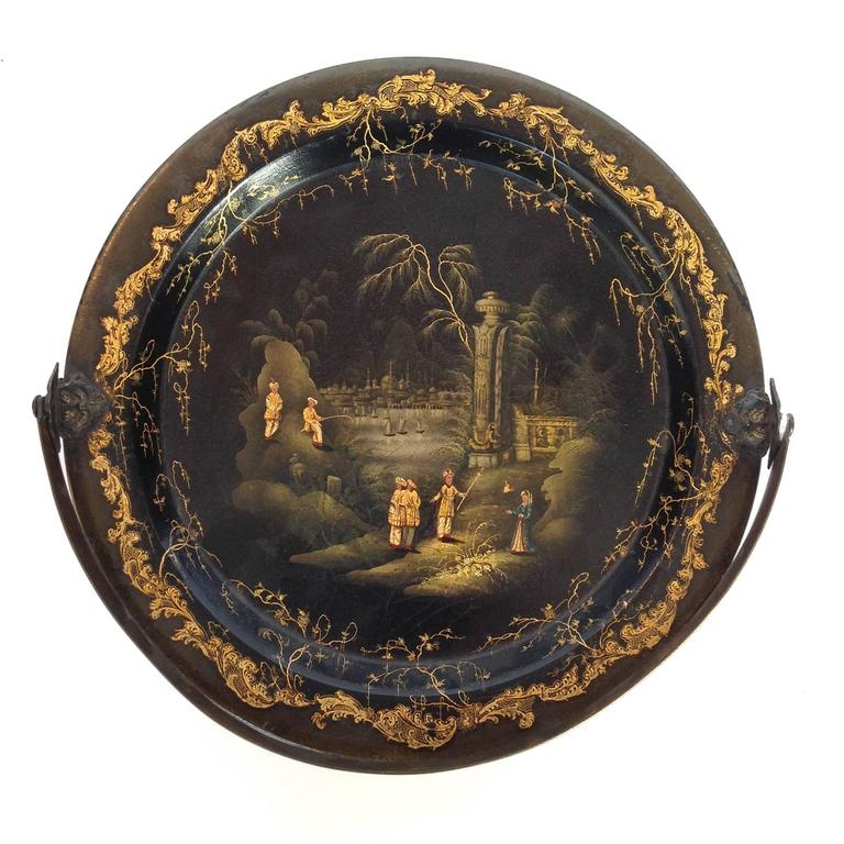 Chinoiserie Papiermch Tray by Henry Clay Metal Handle