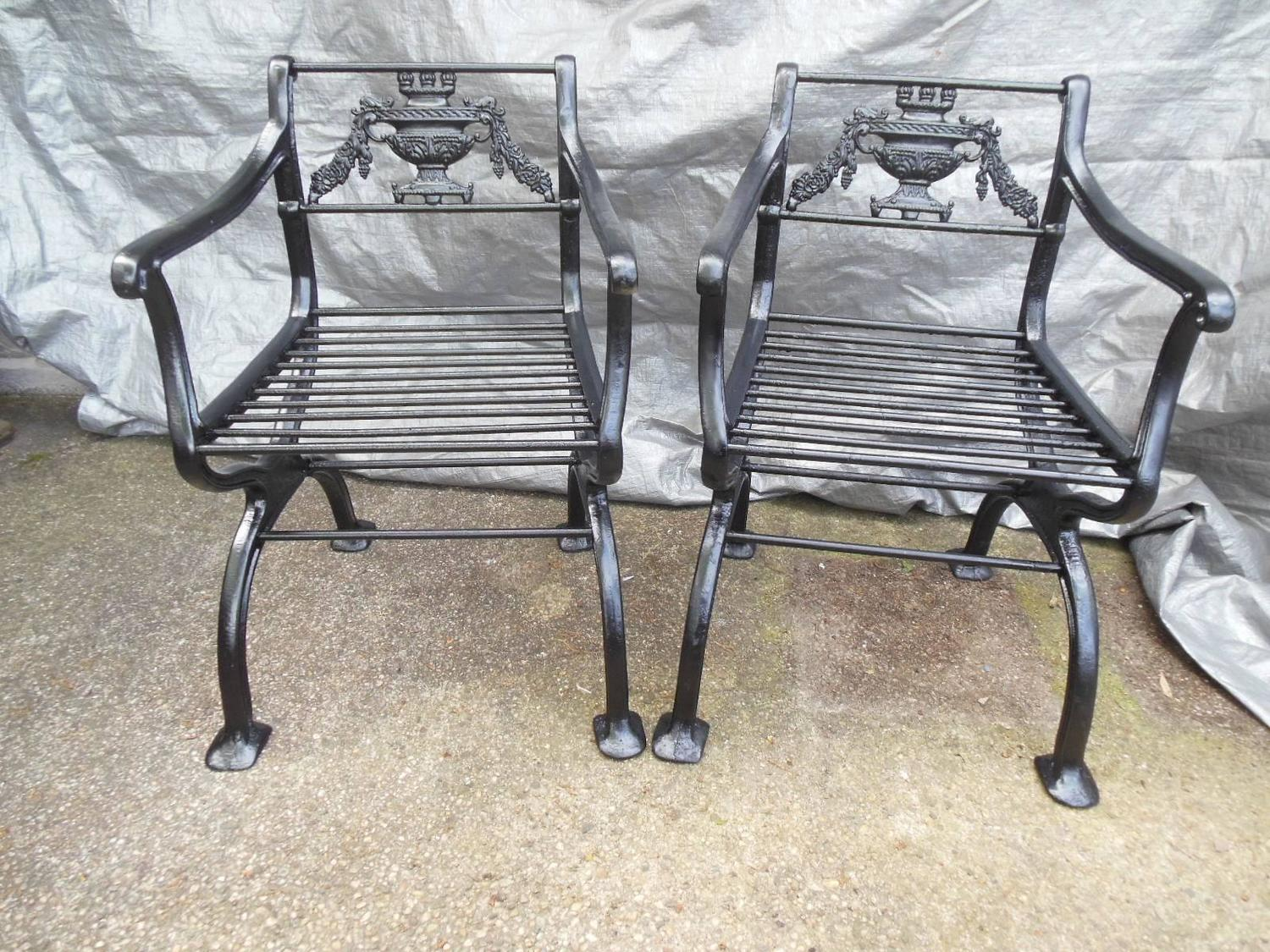 antique cast iron garden table and chairs cheap chair ottoman regency set bench for