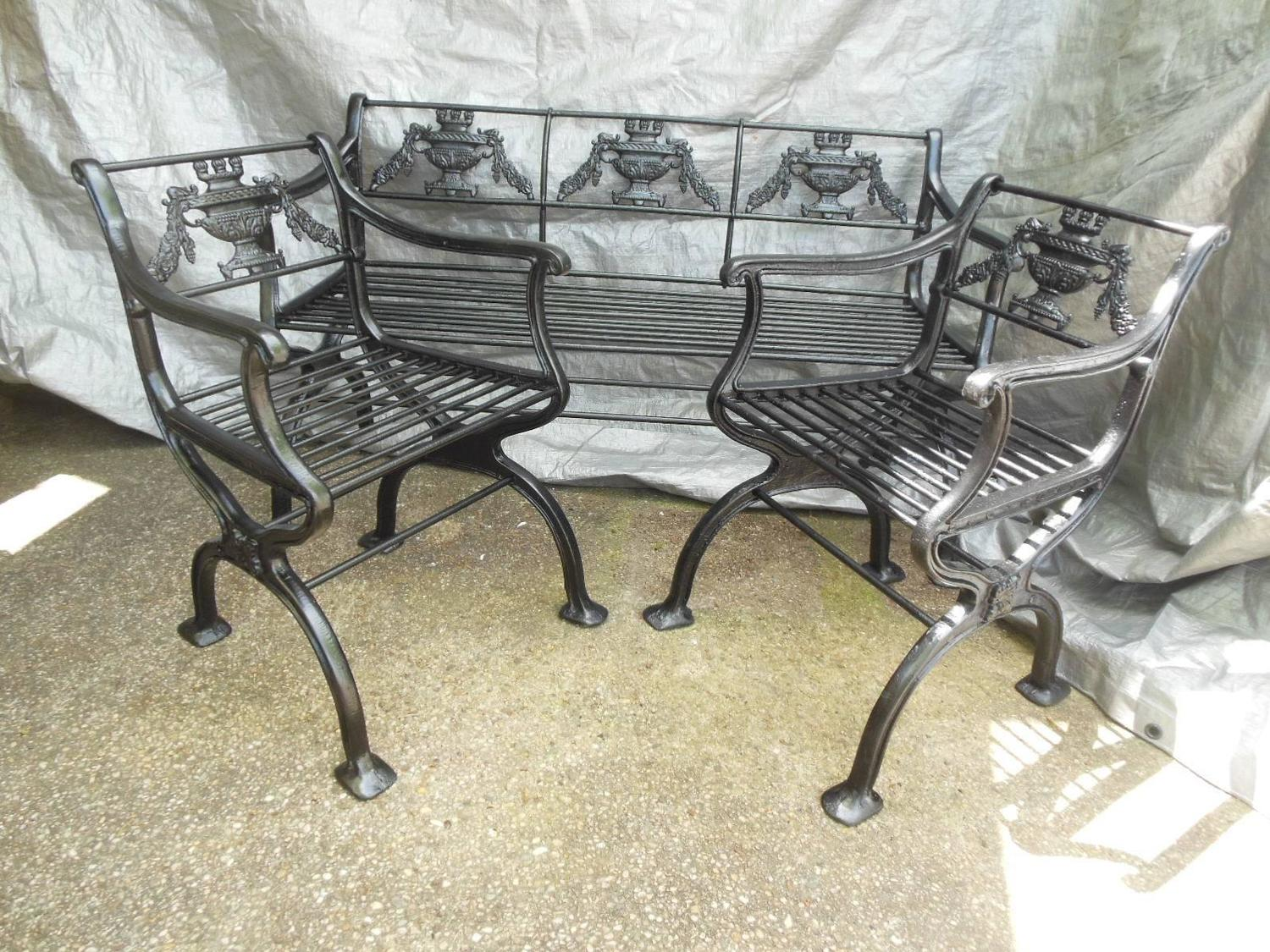 antique cast iron garden table and chairs car office chair regency set bench for